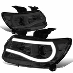 15-19 Chevy Colorado LED DRL Tube Projector Headlights - Smoked Clear