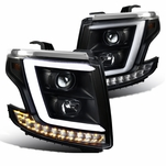 15-20 Chevy Tahoe / Suburban [Halogen Model] Optic-LED Tube Projector Headlights Black