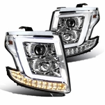 15-20 Chevy Tahoe / Suburban [Halogen Model] Optic-LED Tube Projector Headlights Chrome