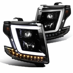 15-20 Chevy Tahoe / Suburban [Halogen Model] Optic-LED Tube Projector Headlights Pearl Black