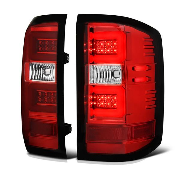 16-17 Chevy Silverado (Factory LED Tail Light Model) Light Bar LED Tail Lights - Red Clear