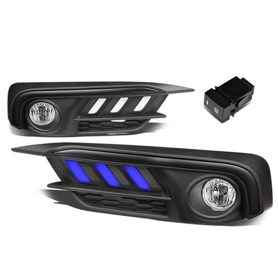 16-17 Honda Civic LED DRL Fog Lights - Black Bezel / Frosted Lens (Blue LED)
