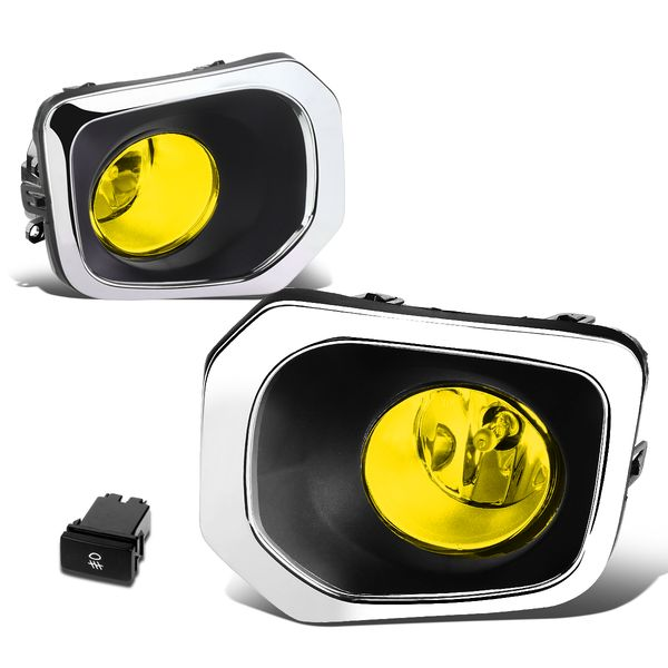 16-19 Toyota Tacoma Truck Pair of Bumper Round Driving Fog Lights+Switch (Amber Lens)