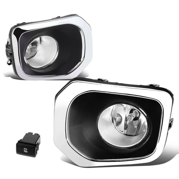 16-19 Toyota Tacoma Truck Pair of Bumper Round Driving Fog Lights+Switch (Clear Lens)
