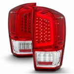 16-19 Toyota Tacoma Light Bar LED Tail Lights - Red Clear