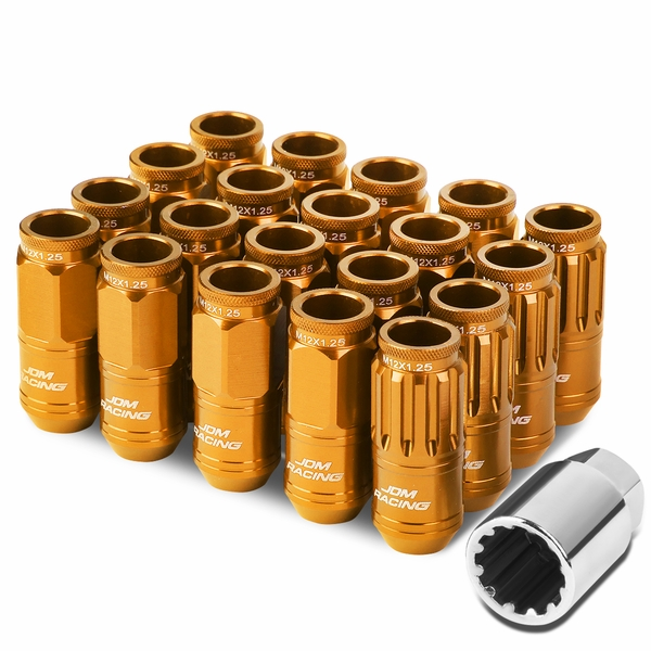 16-Piece M12 x 1.25 Aluminum Alloy Wheel Lug Nuts + 4 x Lock Nut + 1 x Lock Nut Key - Orange