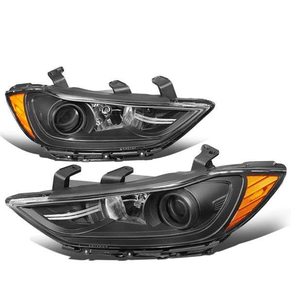 17-18 Hyundai Elantra OE-Style Replacement Projector Headlights - Black / Amber