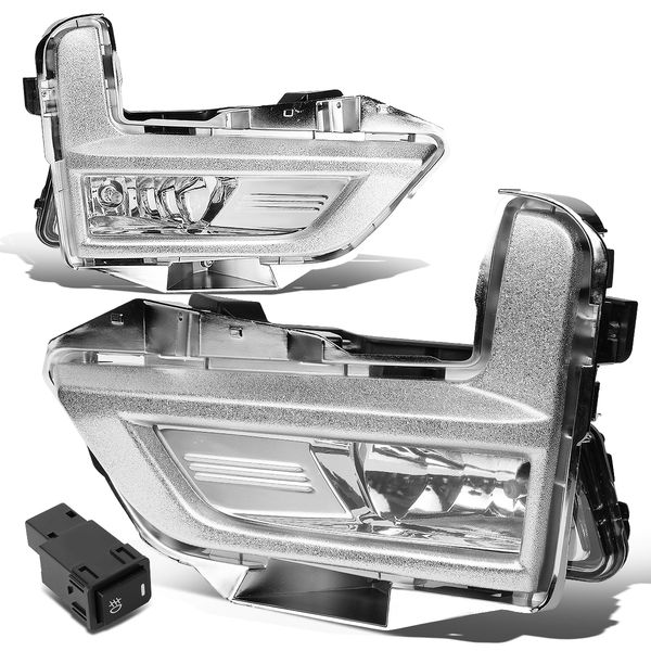 17-18 Nissan Rogue Clear Lens Fog Light Replacement w/Switch+Silver Bezels