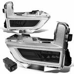17-18 Nissan Rogue Smoked Lens Fog Light Replacement w/Switch+Silver Bezels