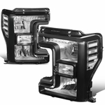17-19 Ford F250 F350 Super Duty Black Housing Headlight Lamps Replacement