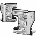 17-19 Ford F250 F350 Super Duty Chrome Housing Headlight Lamps Replacement