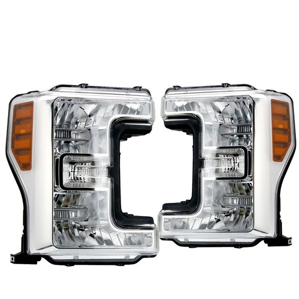 17-20 Ford SuperDuty F250 F350 F450 F550 Replacement Headlights - Chrome / Amber
