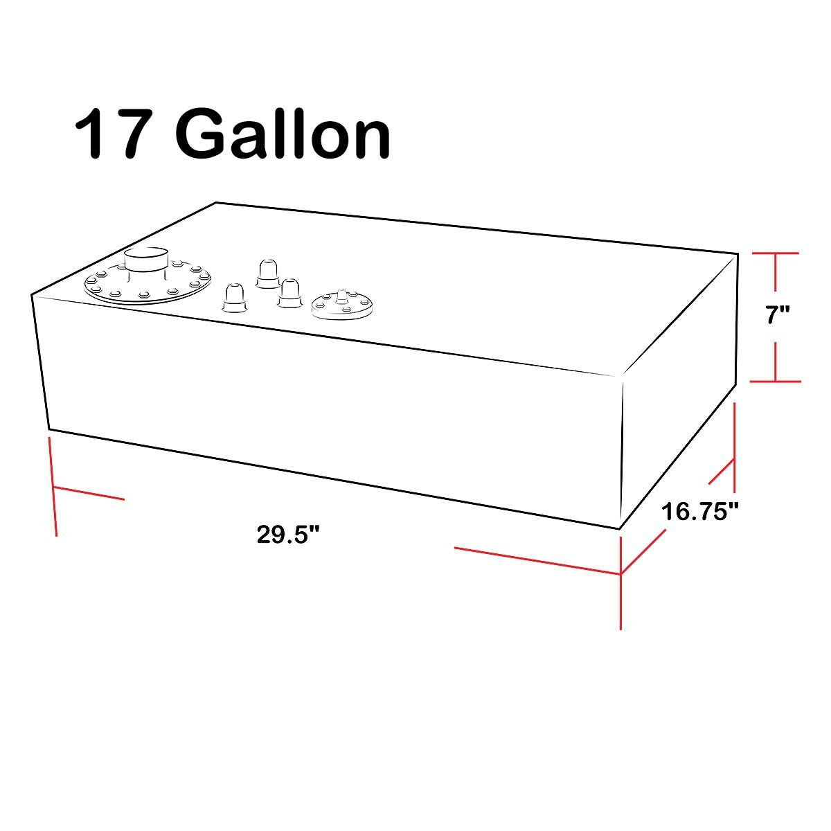 17-Gallon/64-Liter Top-Feed Aluminum Fuel Cell Gas Tank w/Level