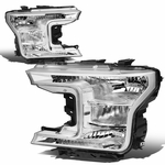 18-19 Ford F150 Chrome Housing Clear Side Front Headlights Replacement