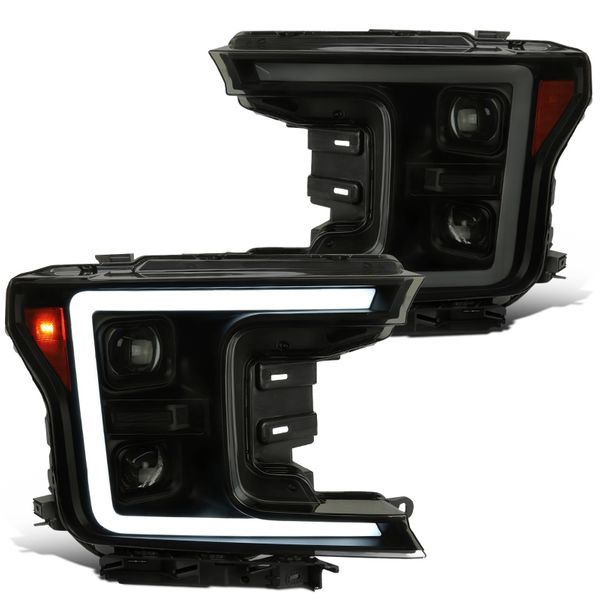 18-20 Ford F-150 Sequential / Switchback Signal DRL Projector Headlights - Black / Smoked