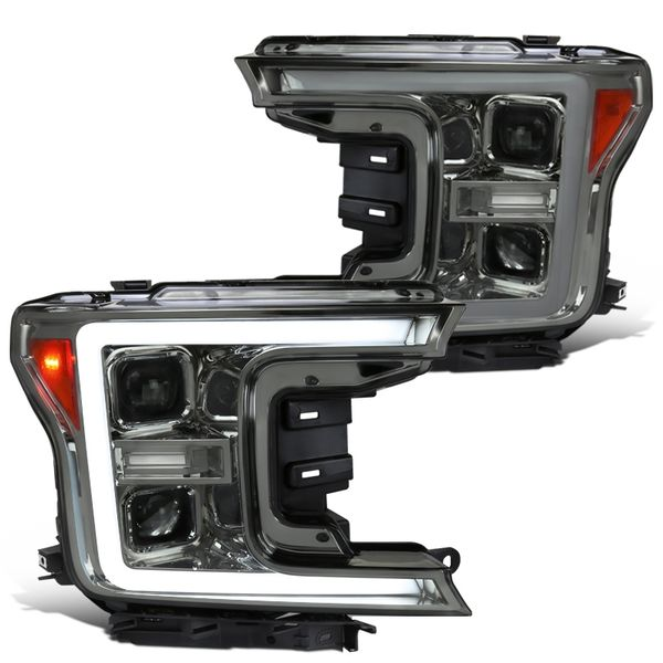 18-20 Ford F-150 Sequential / Switchback Signal DRL Projector Headlights - Smoked