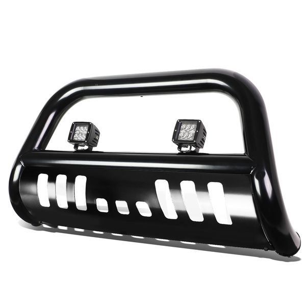 """18W LED Spot Light + 04-16 Ford F150 Non-Ecoboost / 03-14 Expedition 3"""" Front Bumper Push Bull Bar - Black"""