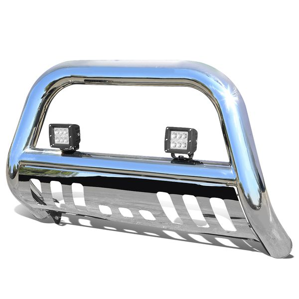 """18W LED Spot Light + 97-03 Ford F150/250/Expedition Light Duty 3"""" Front Bumper Push Bull Bar - Polished"""