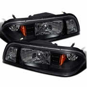 1987-1993 Ford Mustang 1-Piece Euro Crystal Headlights - Black