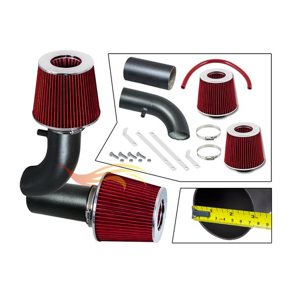 1988-1995 Ford F150 Short Ram Intake Black Pipe With Red Kit