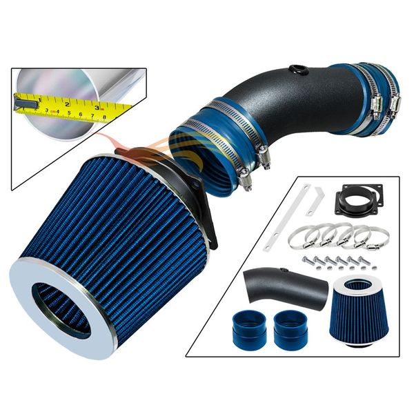 1992-1995 Ford Crown Victoria Short Ram Intake Black Pipe With Blue Kit