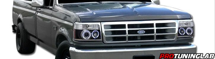 92 96 Ford Bronco F150 F250 F350 Euro Crystal Headlights