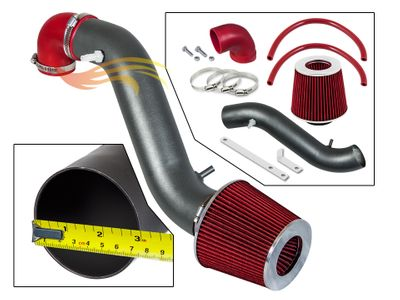 1993-1998 Jeep Cherokee Short Ram Intake Black Pipe With Red Kit
