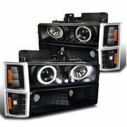 1994-1998 Chevy C10 C/K Tahoe Halo Projector Headlights + Corner + Bumper Lights - Black
