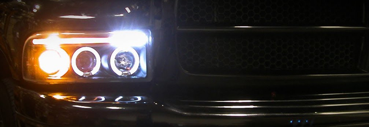 94 01 Dodge Ram Angel Eye Halo Led Projector Headlights