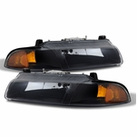 1995-2000 Dodge Stratus Replacement Crystal Headlights - Black