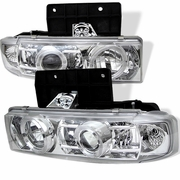 1995-2005 GMC Safari Angel Eye Halo Projector Headlights - Chrome