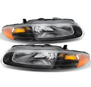 1996-2000 Chrysler Sebring Convertible Replacement Crystal Headlights - Black