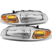 1996-2000 Chrysler Sebring Convertible Replacement Crystal Headlights - Chrome