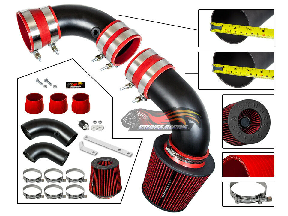 Black Red Cold Air Intake System Kit For 1996-2001 Oldsmobile Bravada 4.3L V6