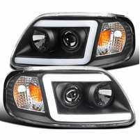 1997-2003 Ford F150 / Expedition LED DRL Tube Projector Headlights - Black