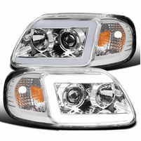 1997-2003 Ford F150 / Expedition LED DRL Tube Projector Headlights - Chrome