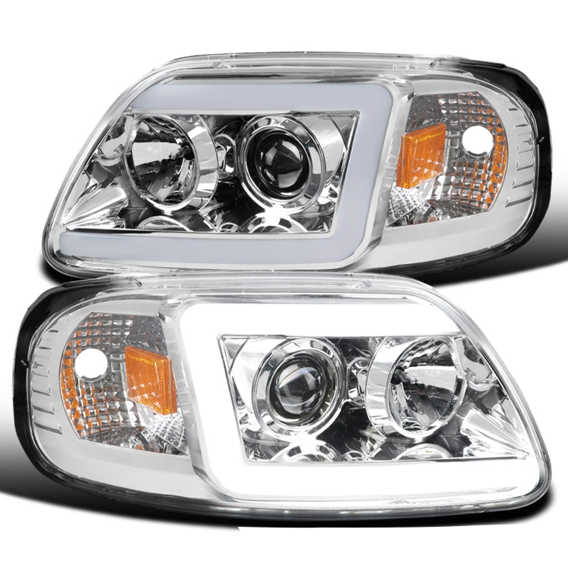 1997 2003 Ford F150 Expedition Led Drl Tube Projector Headlights Chrome