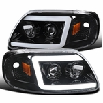 1997-2003 Ford F150 / Expedition LED DRL Tube Projector Headlights - Gloss Black