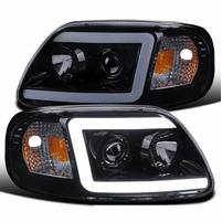 1997-2003 Ford F150 / Expedition LED DRL Tube Projector Headlights - Smoked