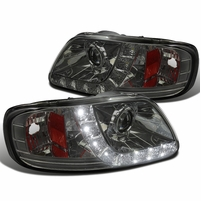 1997-2003 Ford F150 LED Strip Projector Headlights - Smoked
