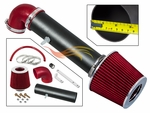 1997-2004 Jeep Cherokee Short Ram Intake Black Pipe With Red Kit