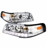 1998-2011 Ford Crown Victoria / Police Interceptor LED Projector Headlights - Chrome