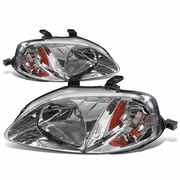 DNA 1999-2000 Honda Civic Factory Style Crystal Headlights - Chrome