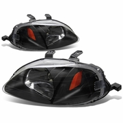 DNA 1999-2000 Honda Civic JDM Style Crystal Headlights - Black