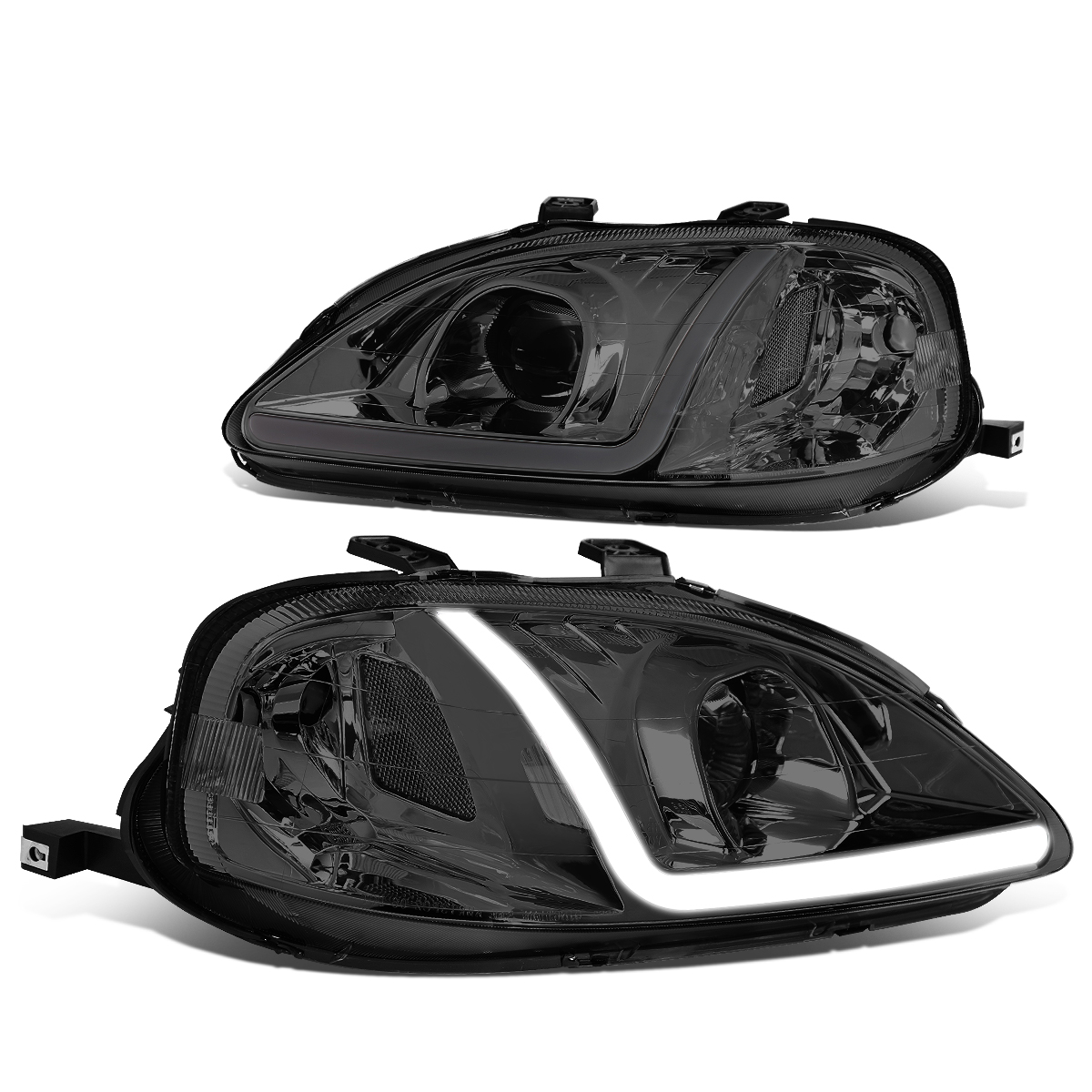 DNA Motoring HL-LB-HC99-SM-CL1 LED DRL Projector Headlights For 99-00 Honda Civic