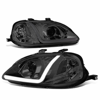 1999-2000 Honda Civic LED DRL Smoked/Clear Corner Projector Headlights