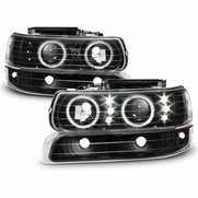 1999-2002 Chevy Silverado 00-06 Suburban LED Halo Headlights Bumper Lights Black