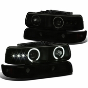 1999-2002 Chevy Silverado /  00-06 Tahoe Suburban Halo Projector Headlights - Black Smoked