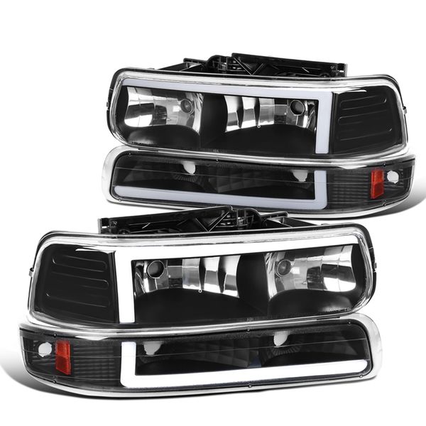 1999-2002 Chevy Silverado LED Tube Headlights+Bumper Signal - Matte Black
