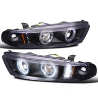1999-2003 Mitsubishi Galnt Dual Angel Eye Halo & LED Projector Headlights - Black